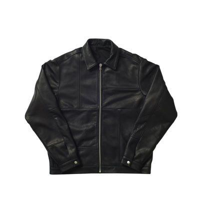 LEATHER PANEL JACKET BLACK