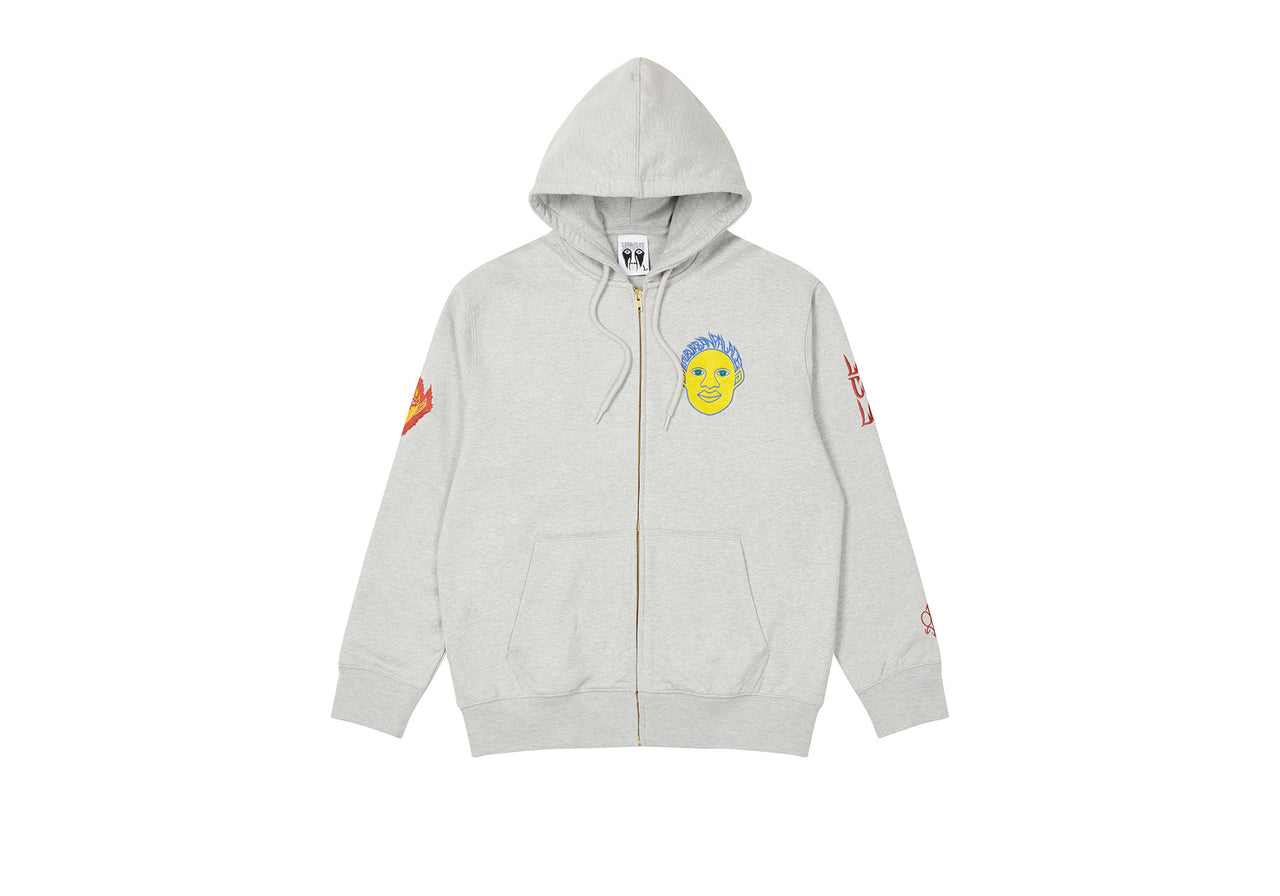 PALACE SUBURBAN BLISS ELF HEAD PATCH ZIP HOOD GREY MARL