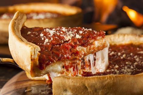 Deep Dish Pizza with Pepperoni and Sausage