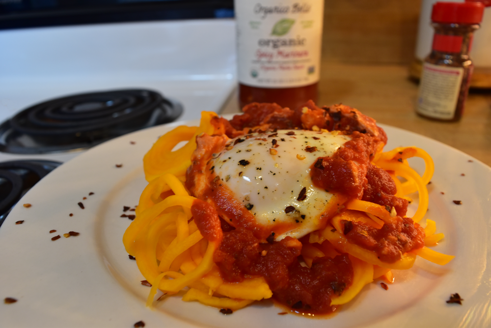 Shakshuka on Spiralized Sweet Potato Noodles