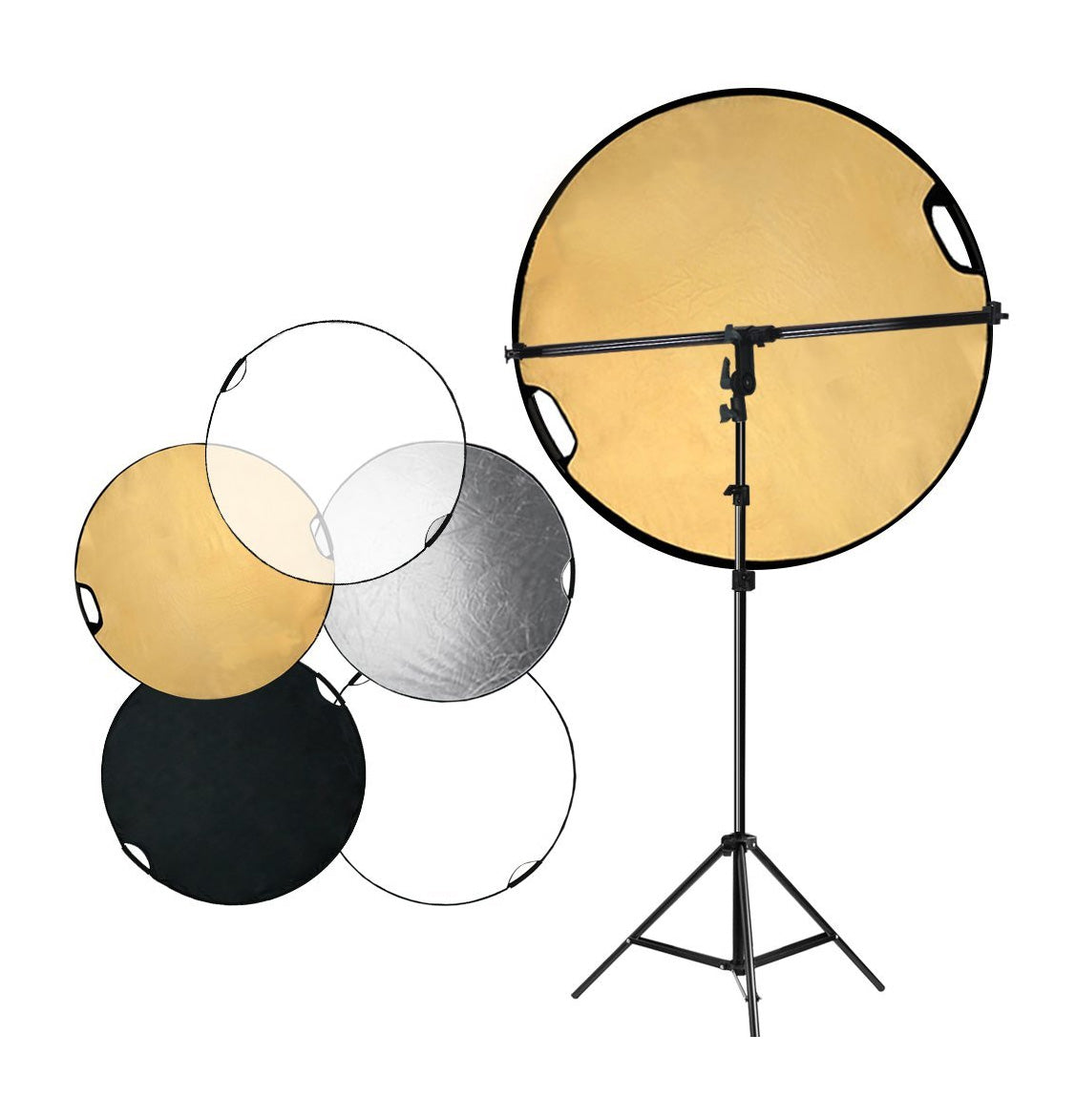 AGG2082 Photo Studio LimoStudio Swivel Head Reflector Support Holder Arm Hand Held Boom Stand Kit Boom Stand Arm Bar with 43 Inch Diameter 5 Color in 1 Round Collapsible Reflector Disc Panel