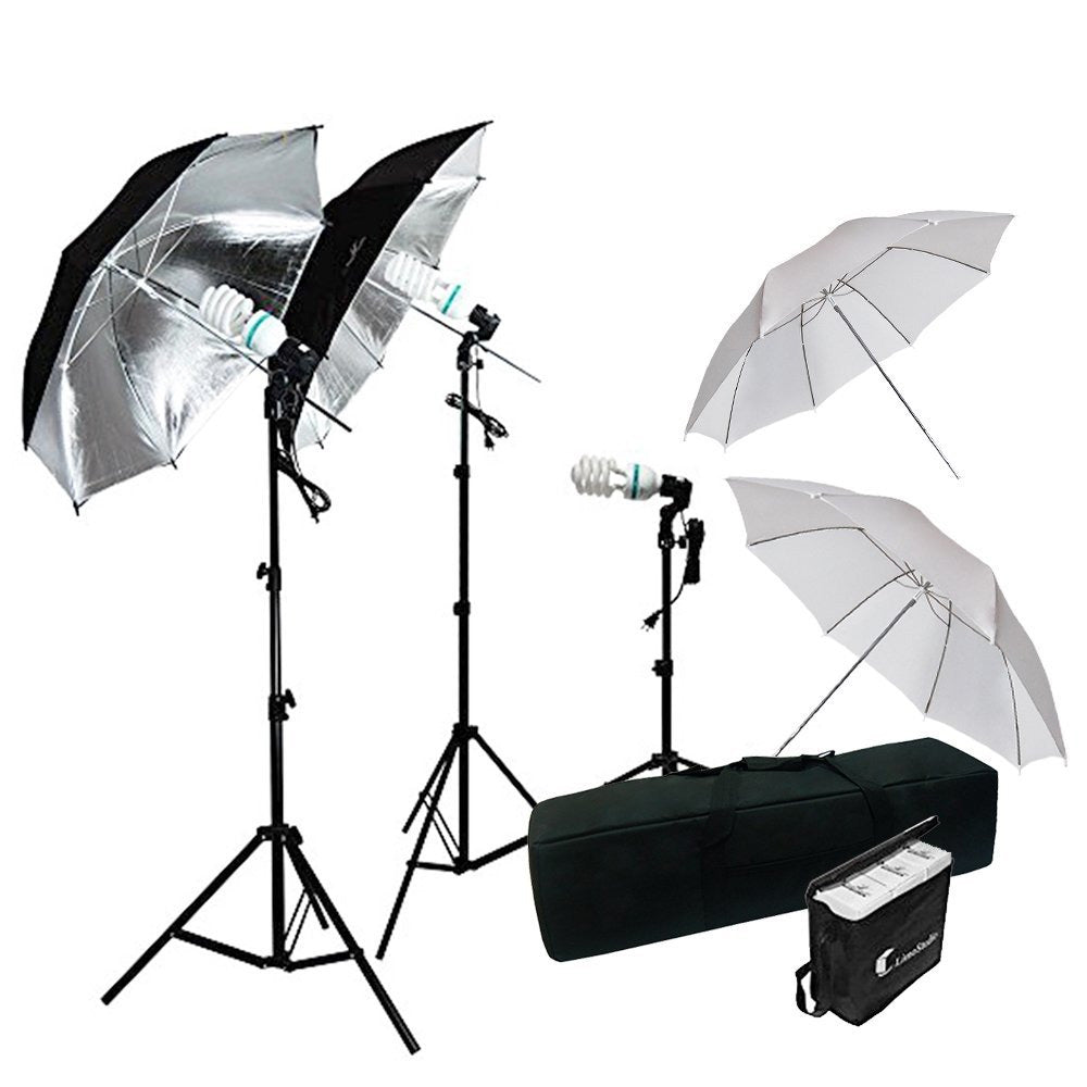 600W Photography Triple Photo Umbrella Lighting Kit, Video, Umbrella Continuous Lighting Kit, CFL Photo Bulbs, Black/Silver & White Umbrella Reflector, Light Stand, Carrying Case