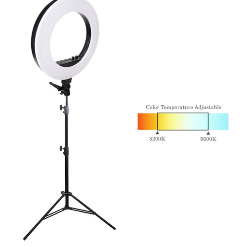 LED 18 inch Ring Light 3200K–5600K and Dimmable with Camera Adapter & Height Adjustable Photo Studio Light Stand Tirpod