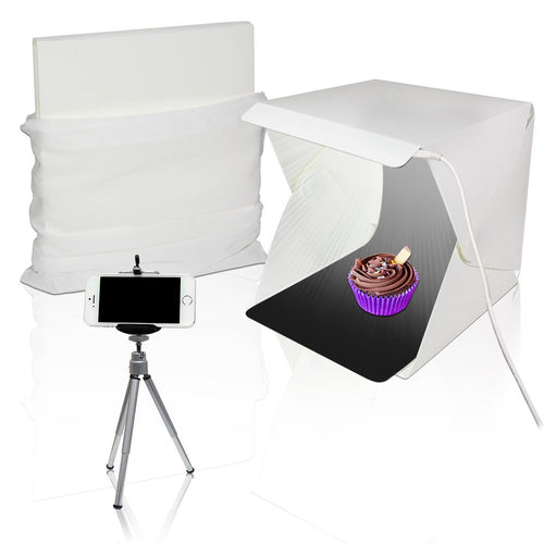 Light Portable Mini Photo Shooting Box Tent, Foldable Lighting Box Kit, USB Power Cable, Commercial Product Image Shoot Photo Booth & Cleaning Cloth