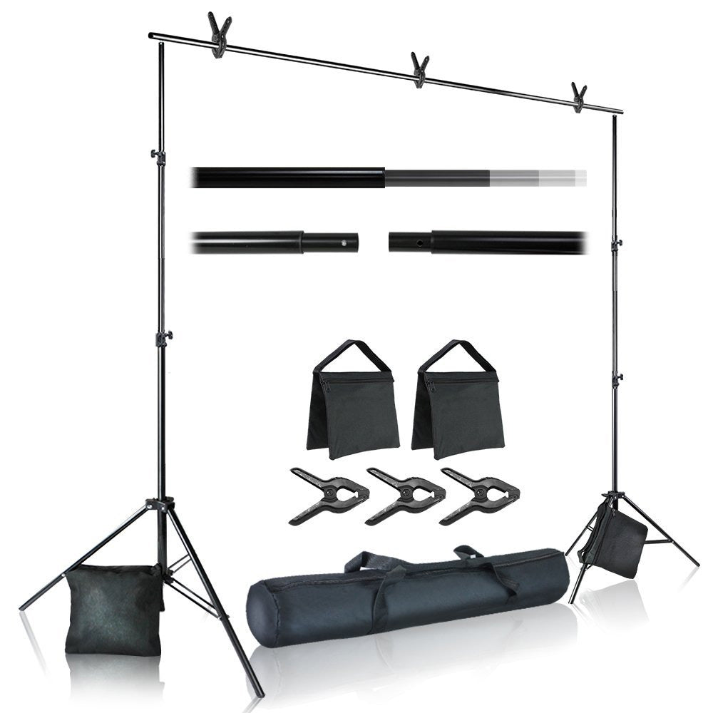 10 ft. Wide Cross Bar 7.4 ft. Tall Background Stand Backdrop Support System Kit with Carry Bag