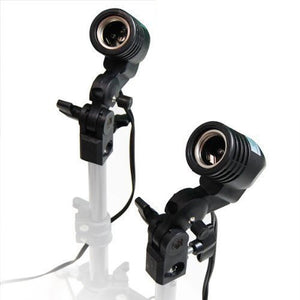 2 Pcs Photography Studio AC Socket Light Stand Mount Umbrella Holder