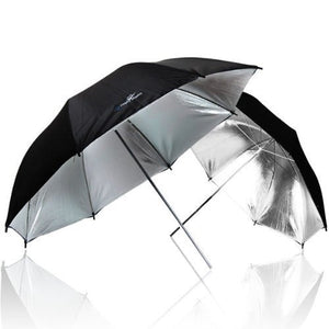 "2 x 33"" Double Layer Black/Silver Photo Studio Reflector Umbrella"