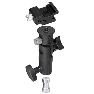 Flash Bracket Including Umbrella Reflector Holder, Light Stand Tripod Hot Shoe Mount, 1/4, 3/8 inch Female Thread