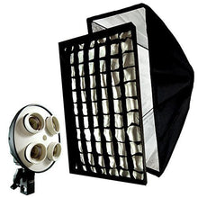 "16""x24"" Honey Comb Grid Softbox Diffuser Reflector with 4 Socket Light Bulb Adapter"