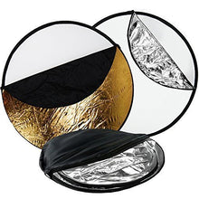 "32"" 5-in-1 Photography Collapsible Light Disc Reflector, 5 Colors White, Black, Silver, Gold, Translucent"