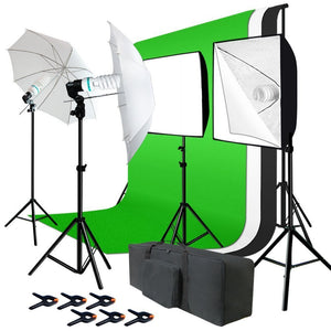 Photo Studio Kit 6 x 9 ft. Green White Black Muslin Backdrop Screen & Supporting System, Umbrella Reflector, Light Bulb, Soft Box Light Diffuser, Socket, Tripod Light Stand
