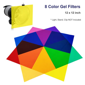 8 Color Gel Filter, 12 x 12 inch, Transparent Color Color Film, Color Correction for Camera Flash Light, Speedlite