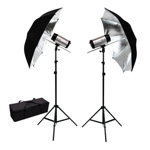 "600W Flash/Strobe Lighting Kit w/ 33"" Black Silver Umbrella Reflector"