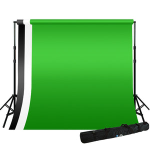 Background Stand w/ 10 x 20 ft Black White Green Backdrops