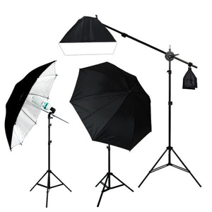 "900W 52"" Black/White Umbrella Boom Lighting Kit"