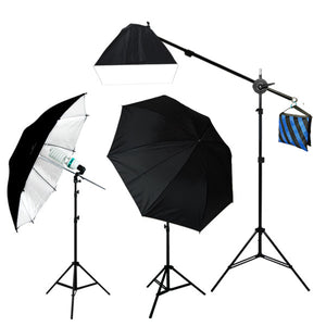 "1000W 52"" Black/White Umbrella Boom Lighting Kit"