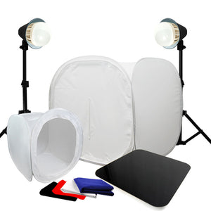 "30"" And 12"" Cube LED Light Photo Box with Acrylic Black/ White Display Table"