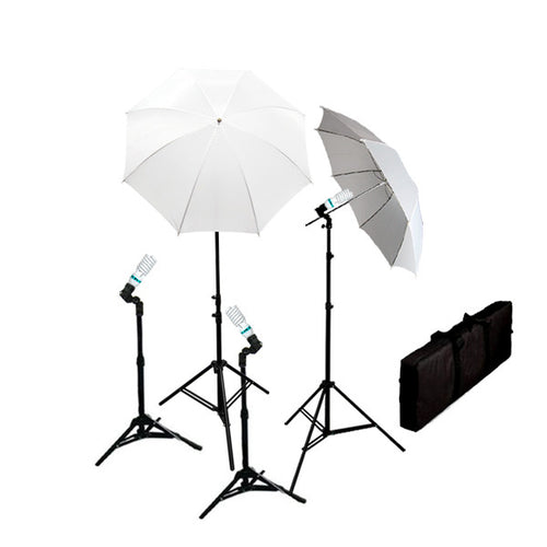 4 Piece Continuous Photography Studio Lighting Kit w/ Umbrellas
