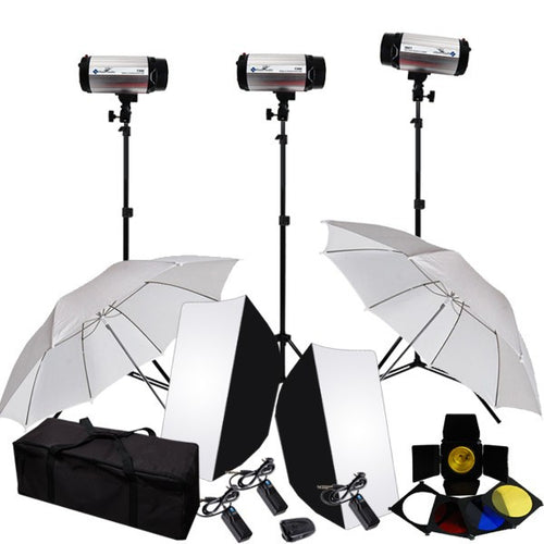 Strobe Studio Flash Light Kit - Strobes, Barn Doors, Light Stands, Triggers, Umbrellas, Soft Box