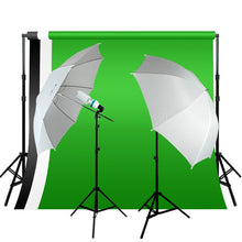 10 x 10 ft Green, White, Black Backdrop w/ Photo Studio Lighting kit