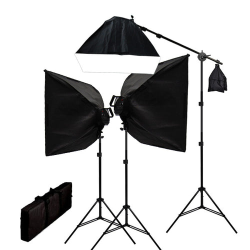 Digital Video Continuous Softbox Lighting Kit w/ Boom and Carrying Case