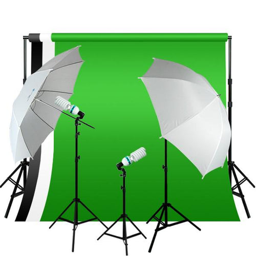 Photography Studio Video Photo White & Black Screen Background Support Kit 600W Output 3 Point Studio Photography Umbrella Lighting Kit