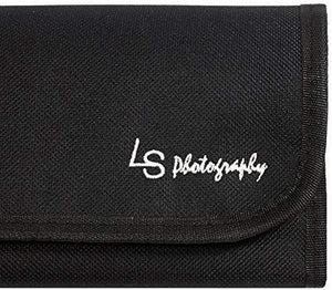 LS Photography (6pcs) x 4 Pocket Camera Lens Filter Case Carry Pouch for Round Circular or Square Filters and Black SuperFiber Lens Cleaning Cloth, SRE1281