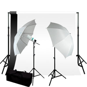 400W Photography Umbrella Lighting Kit w/ 6 x 9 ft Background Support Kit