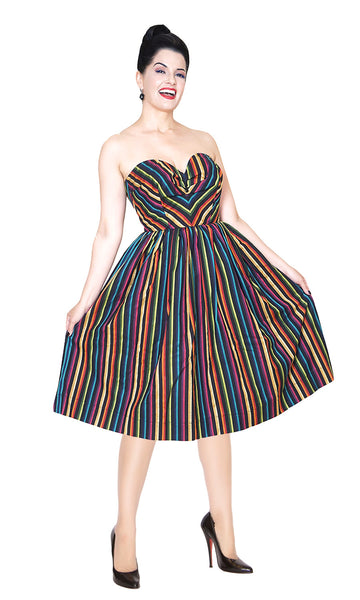 Bernie Dexter wearing the Sabrina striped dress from The Domestic Dame