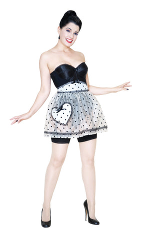 Bernie Dexter wearing the Boudoir heart pocket apron in sheer cream organza with black flocked polka dots
