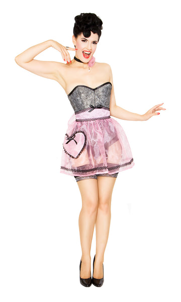 Bernie Dexter wearing the Boudoir heart pocket apron in sheer pink
