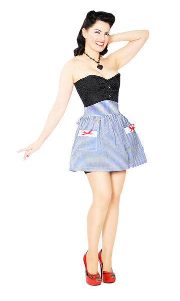 Gal Next Door Apron- navy & white cotton gingham