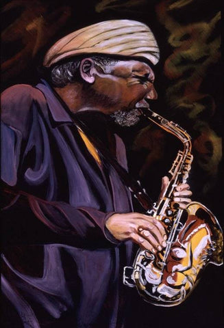 Saxophone Player Painting. Waves of Praise!!