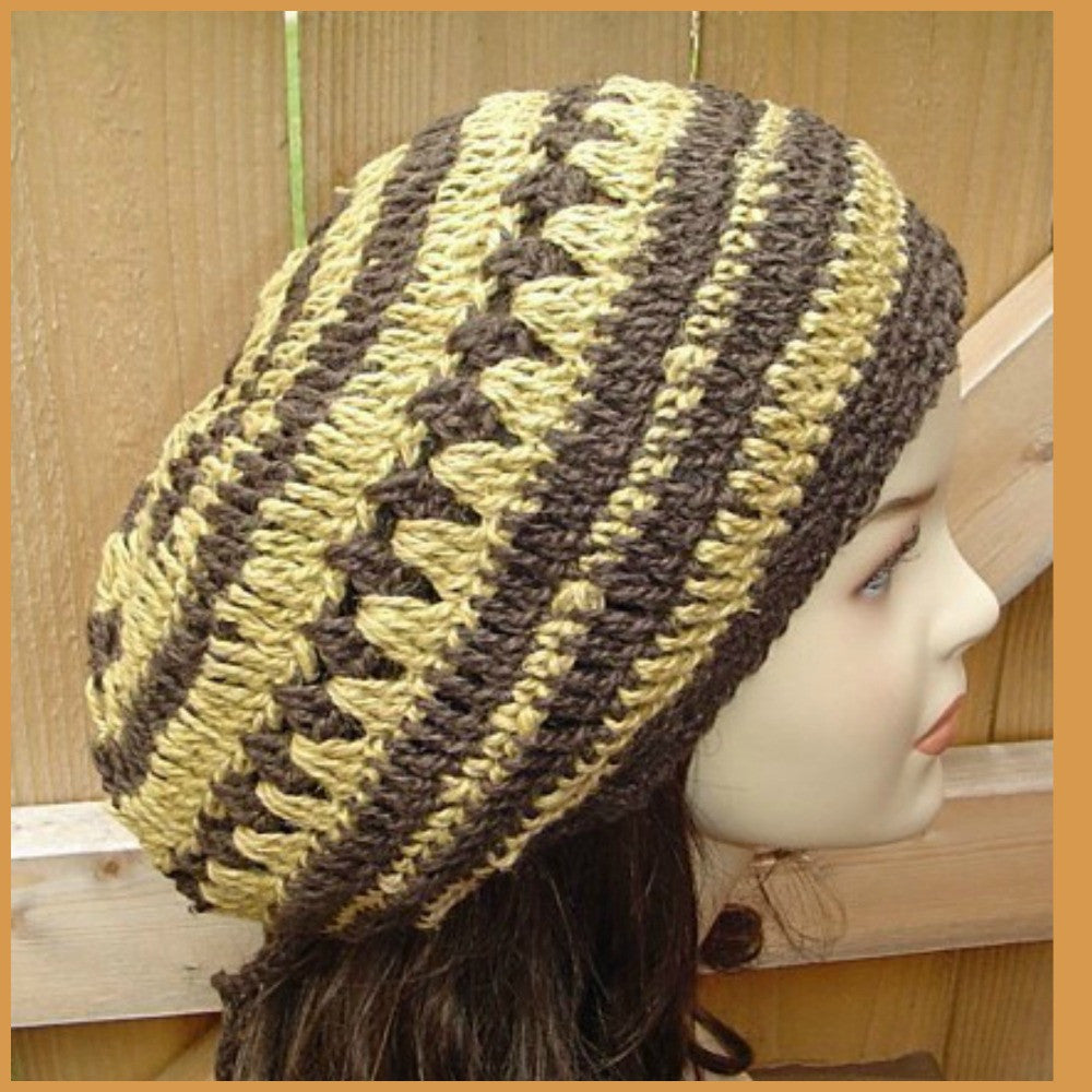 Hemp wool slouchy beanie, dread beret slouch hat, woman man beanie, Bohemian Hippie hat brown curry