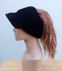 Handmade Black Ponytail hat, Visor Dread Tube cap, billed dread tube headband