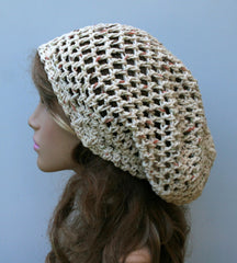 Fall Potpourri Cotton hippie slouchy snood beanie, small dread tam hat, slouch beanie hat