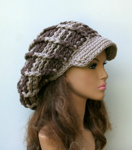 Neutral Visor Newsboy cap, woman man Slouchy Beanie, visor hat, thicker oatmeal mushroom beige brown