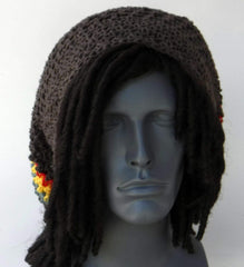 Brown Cotton Slouchy Beanie, Wide Hippie Dreadlock Hat, Dread Tam, men or women Slouch Beanie