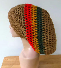 Black Dread hat, dreadlocks beanie rasta tam hat, man or woman Jamaica slouchy hat