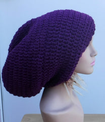 Dark orchid purple Slouchy large Tam Dreadlock Hippie Beanie Dread Hat