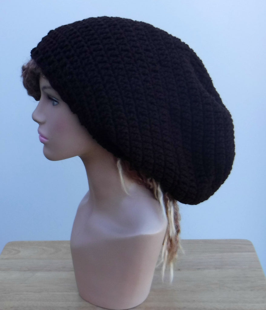 Dark brown Slouchy large Tam Dreadlock Hippie Beanie Dread Hat
