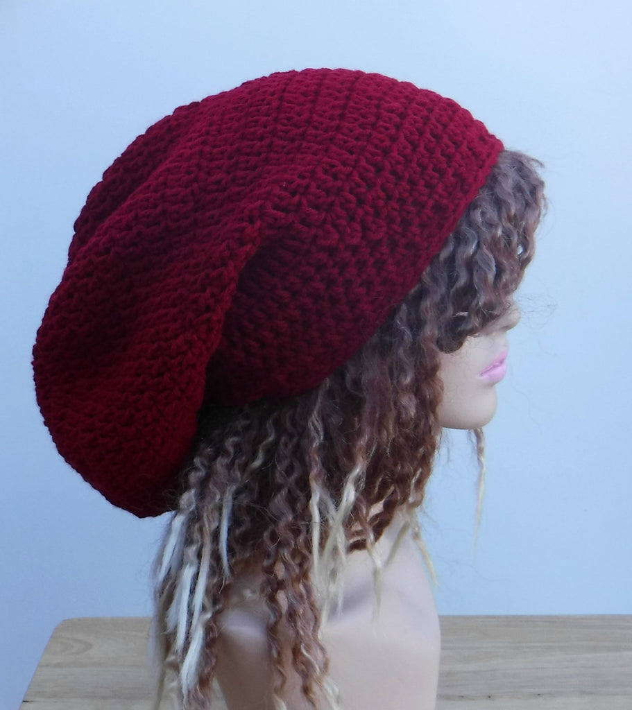 e10c5119b7a Dark red Slouchy large Tam Dreadlock Hippie Beanie Dread Hat ...