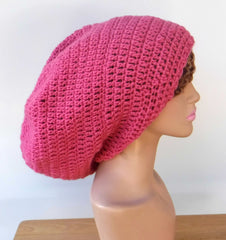Raspberry Slouchy Beanie large Tam Dreadlock Hippie Beanie Dread Hat