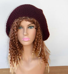 Dark burgundy Slouchy large Tam Dreadlock Hippie Beanie Dread Hat long large beanie
