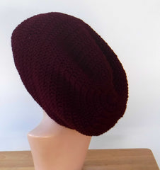 Dark wine Slouchy large Tam Dreadlock Hippie Beanie Dread Hat long large beanie
