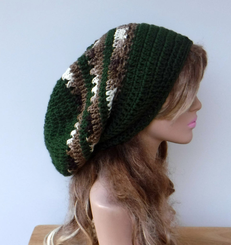Soft slouchy beanie, larger Tam Dreadlock Hippie Beanie Dread Hat long beanie olive brown