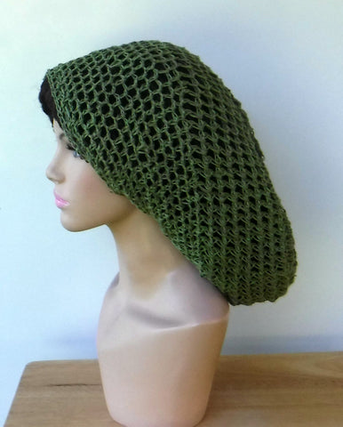 Handmade slouchy green pure Hemp Dread Tam Hat Hippie Slouchy Beanie dreadlocks men women