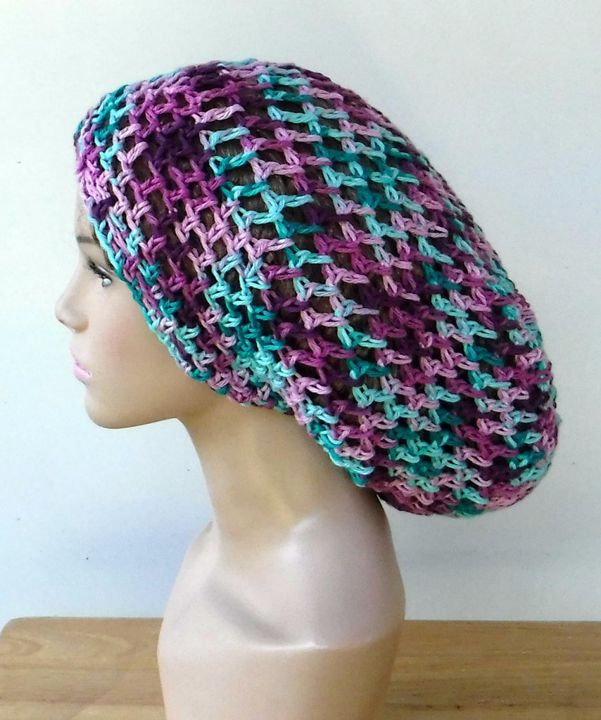 Handmade slouchy beanie mint green berry variegated cotton snood slouchy hat/women men Dread Tam hairnet hat/light summer beanie