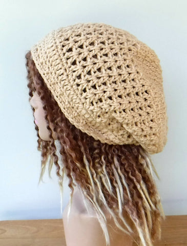 Warm beige slouchy beanie, small dread tam hat, slouch beanie, smaller dreadlocks hat, black vegan man hat, woman beanie