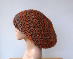 Hemp Cotton Slouchy Beanie Dread Tam Hat, Slouch Beanie, snood dreadlocks beanie, taupe brown burnt orange